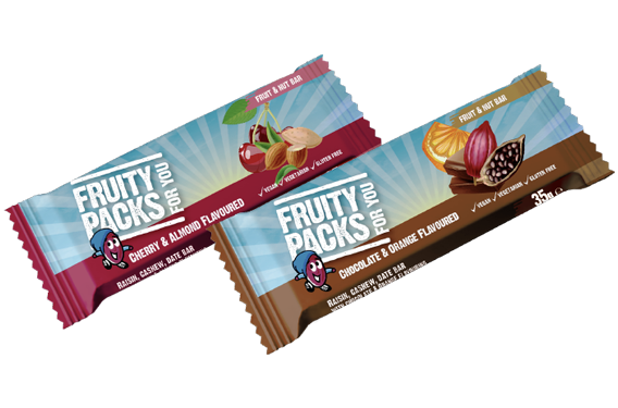 Image of our Fruity packs bars, fast convenient healthier