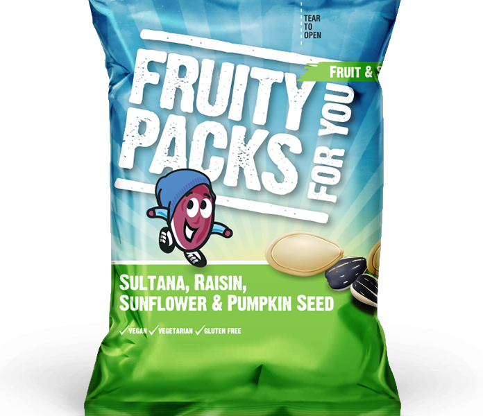 top 5 health benefits of sunflower seeds with a pack ofFruity Packs sultana, raisin, sunflower seeds and pumpkin seeds
